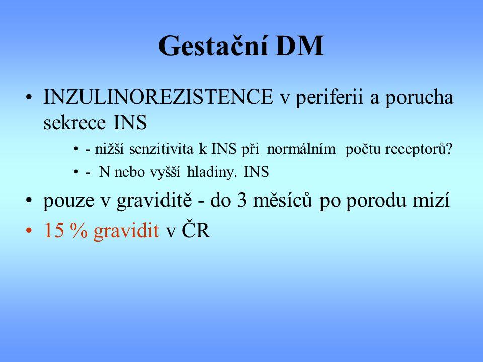 Gestační DM INZULINOREZISTENCE v periferii a porucha sekrece INS - nižší senzitivita k INS při normálním počtu receptorů? - N nebo vyšší hladiny. INS