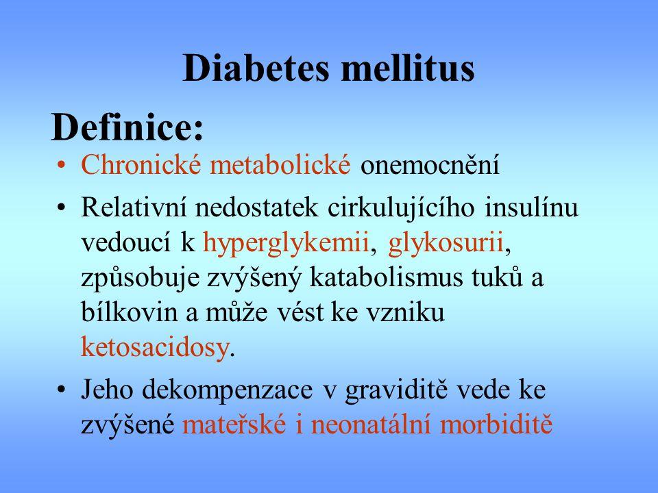 Diabetes mellitus Chronické metabolické onemocnění Relativní nedostatek cirkulujícího insulínu vedoucí k hyperglykemii, glykosurii, způsobuje zvýšený