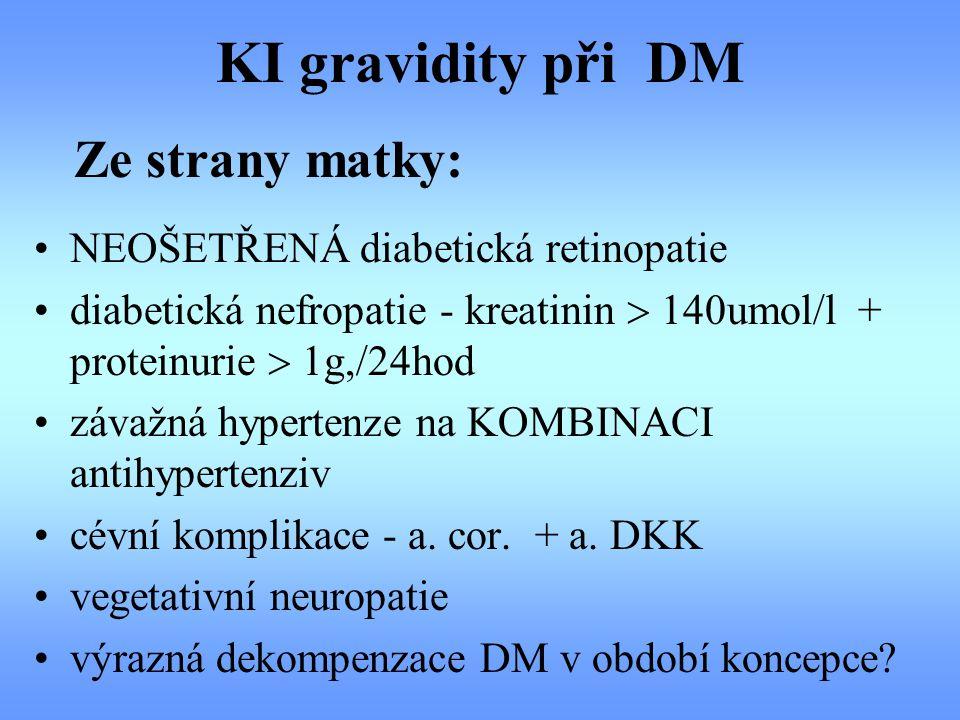 KI gravidity při DM NEOŠETŘENÁ diabetická retinopatie diabetická nefropatie - kreatinin  140umol/l + proteinurie  1g,/24hod závažná hypertenze na KO
