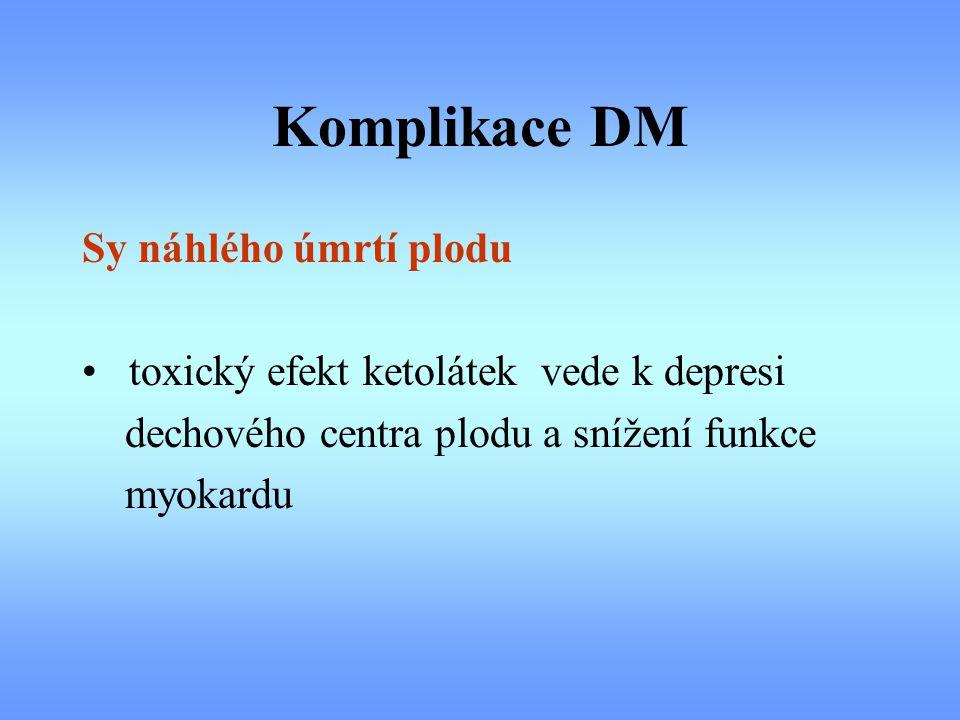 Komplikace DM Sy náhlého úmrtí plodu toxický efekt ketolátek vede k depresi dechového centra plodu a snížení funkce myokardu