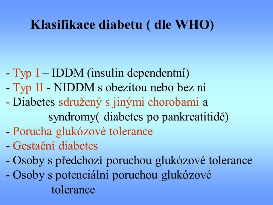 Klasifikace diabetu ( dle WHO) - Typ I – IDDM (insulin dependentní) - Typ II - NIDDM s obezitou nebo bez ní - Diabetes sdružený s jinými chorobami a s
