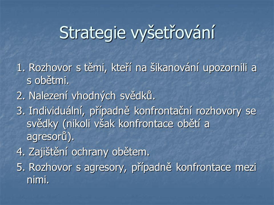 Strategie vyšetřování 1.Rozhovor s těmi, kteří na šikanování upozornili a s obětmi.