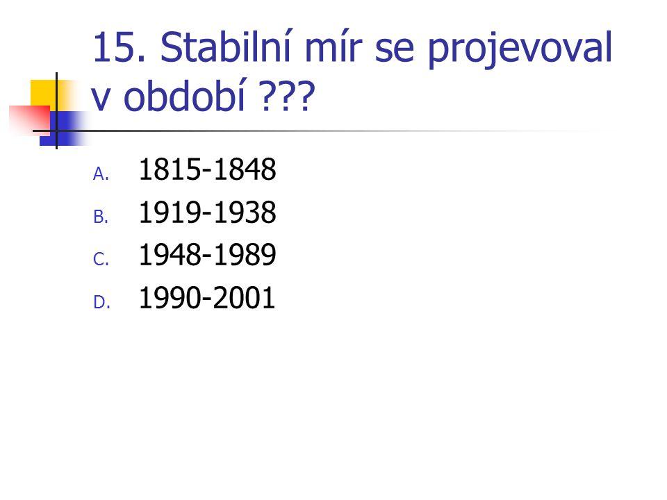 15. Stabilní mír se projevoval v období ??? A. 1815-1848 B. 1919-1938 C. 1948-1989 D. 1990-2001