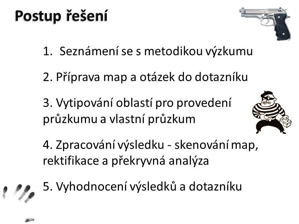Postup řešení 1.Seznámení se s metodikou výzkumu 2. Příprava map a otázek do dotazníku 3. Vytipování oblastí pro provedení průzkumu a vlastní průzkum