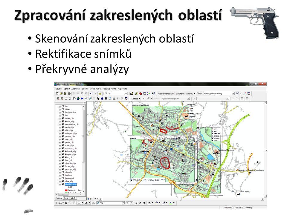 Zpracování zakreslených oblastí Skenování zakreslených oblastí Rektifikace snímků Překryvné analýzy