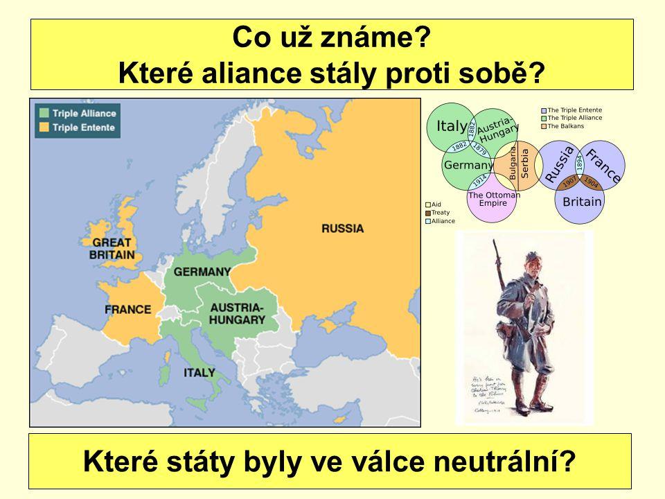 Co už známe? Které aliance stály proti sobě? Které státy byly ve válce neutrální?