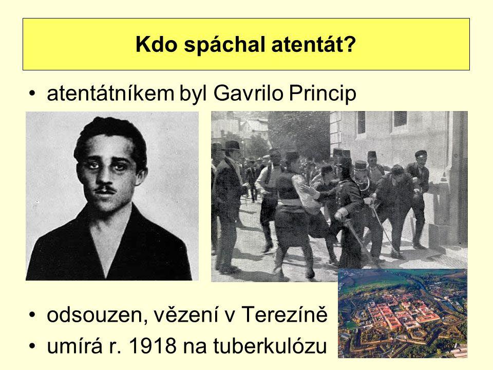 atentátníkem byl Gavrilo Princip odsouzen, vězení v Terezíně umírá r. 1918 na tuberkulózu Kdo spáchal atentát?