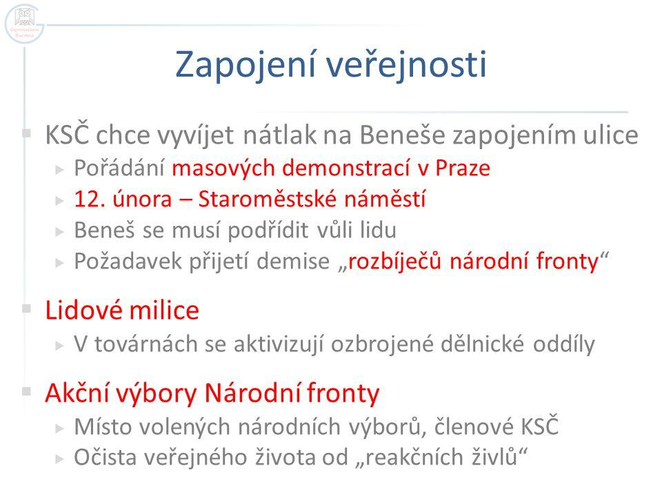 Zapojení veřejnosti  KSČ chce vyvíjet nátlak na Beneše zapojením ulice  Pořádání masových demonstrací v Praze  12. února – Staroměstské náměstí  B