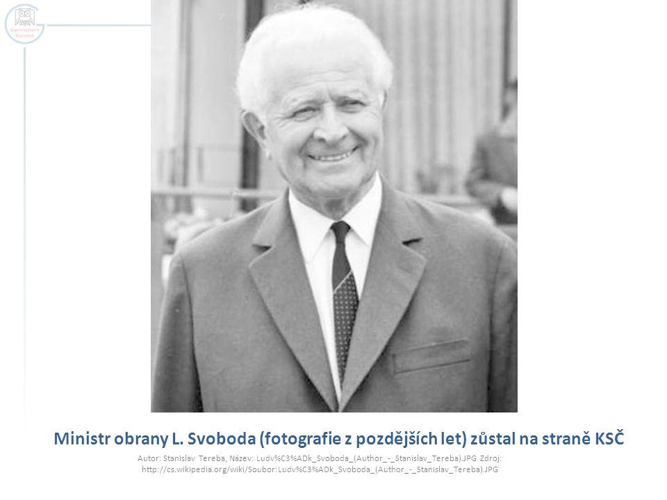 Ministr obrany L. Svoboda (fotografie z pozdějších let) zůstal na straně KSČ Autor: Stanislav Tereba, Název: Ludv%C3%ADk_Svoboda_(Author_-_Stanislav_T