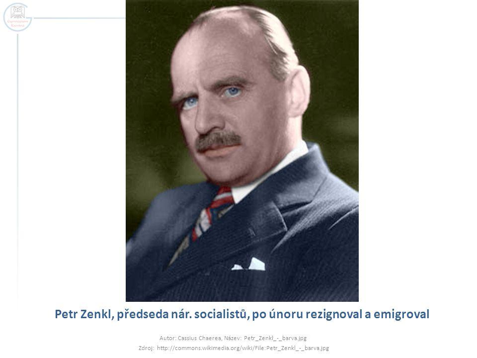 Petr Zenkl, předseda nár. socialistů, po únoru rezignoval a emigroval Autor: Cassius Chaerea, Název: Petr_Zenkl_-_barva.jpg Zdroj: http://commons.wiki