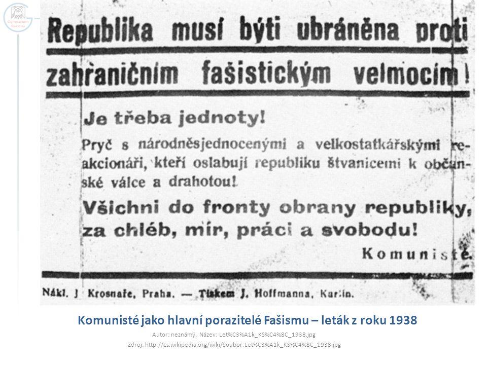 Komunisté jako hlavní porazitelé Fašismu – leták z roku 1938 Autor: neznámý, Název: Let%C3%A1k_KS%C4%8C_1938.jpg Zdroj: http://cs.wikipedia.org/wiki/S