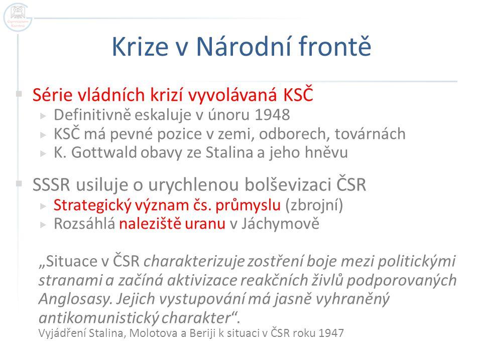 Krize v Národní frontě  Série vládních krizí vyvolávaná KSČ  Definitivně eskaluje v únoru 1948  KSČ má pevné pozice v zemi, odborech, továrnách  K