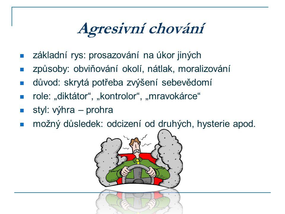 Pasivní chování základní rys: přizpůsobivost požadavkům druhých způsoby: bezbrannost, ustupování, vyhýbání se konfliktům důvod: závislost na druhých a