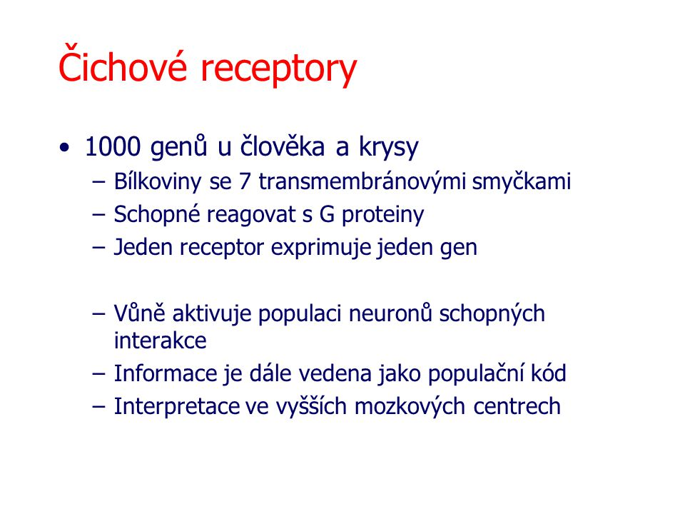 Čichové receptory 1000 genů u člověka a krysy –Bílkoviny se 7 transmembránovými smyčkami –Schopné reagovat s G proteiny –Jeden receptor exprimuje jeden gen –Vůně aktivuje populaci neuronů schopných interakce –Informace je dále vedena jako populační kód –Interpretace ve vyšších mozkových centrech