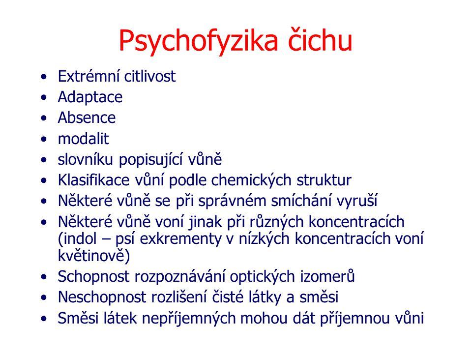 Psychofyzika čichu Extrémní citlivost Adaptace Absence modalit slovníku popisující vůně Klasifikace vůní podle chemických struktur Některé vůně se při