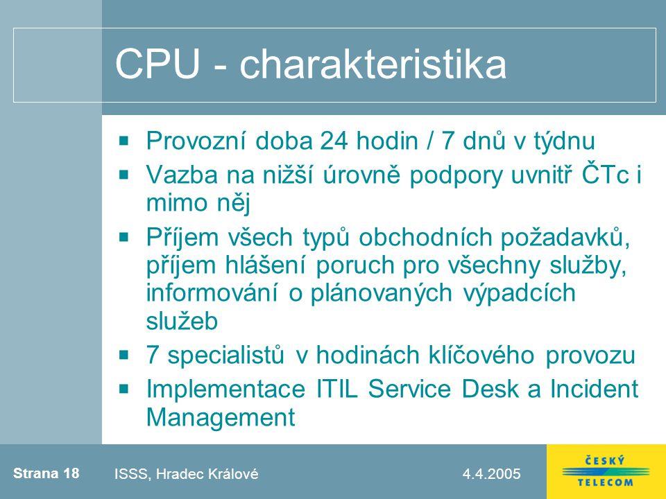Strana 18 4.4.2005Testovací zápatí CPU - charakteristika Provozní doba 24 hodin / 7 dnů v týdnu Vazba na nižší úrovně podpory uvnitř ČTc i mimo něj Příjem všech typů obchodních požadavků, příjem hlášení poruch pro všechny služby, informování o plánovaných výpadcích služeb 7 specialistů v hodinách klíčového provozu Implementace ITIL Service Desk a Incident Management ISSS, Hradec Králové