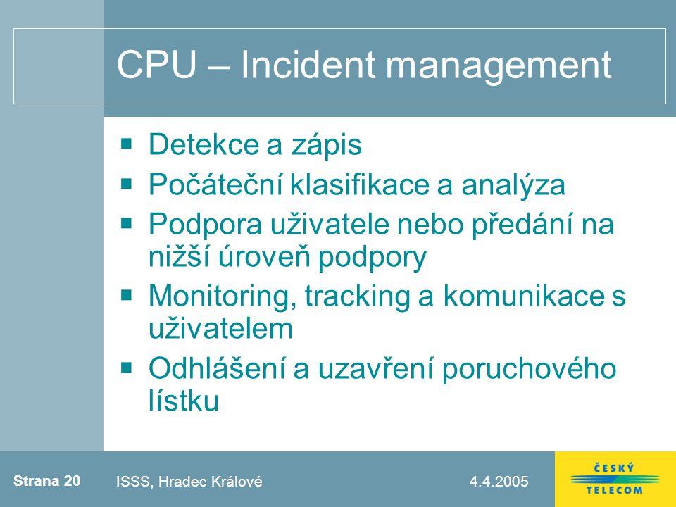 Strana 20 4.4.2005Testovací zápatí CPU – Incident management Detekce a zápis Počáteční klasifikace a analýza Podpora uživatele nebo předání na nižší úroveň podpory Monitoring, tracking a komunikace s uživatelem Odhlášení a uzavření poruchového lístku ISSS, Hradec Králové