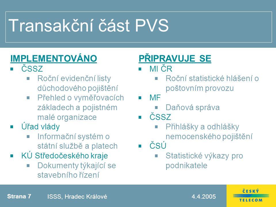 Strana 8 4.4.2005Testovací zápatí Transakční část – statistika ISSS, Hradec Králové