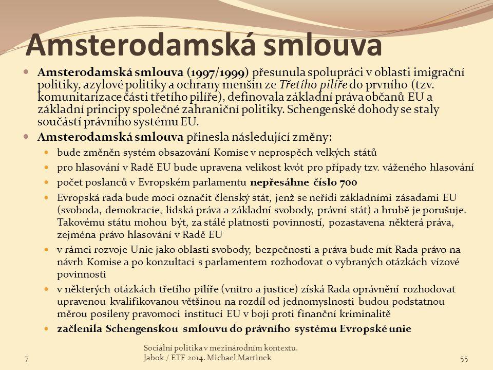 Amsterodamská smlouva Amsterodamská smlouva (1997/1999) přesunula spolupráci v oblasti imigrační politiky, azylové politiky a ochrany menšin ze Třetíh