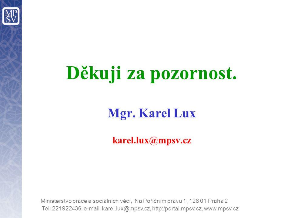 Tel: 221922436, e-mail: karel.lux@mpsv.cz, http:/portal.mpsv.cz, www.mpsv.cz Ministerstvo práce a sociálních věcí, Na Poříčním právu 1, 128 01 Praha 2 Děkuji za pozornost.