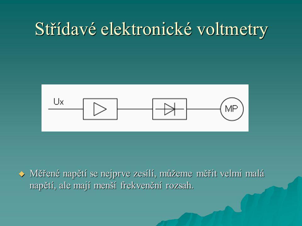 Střídavé elektronické voltmetry  Měřené napětí se nejprve zesílí, můžeme měřit velmi malá napětí, ale mají menší frekvenční rozsah.