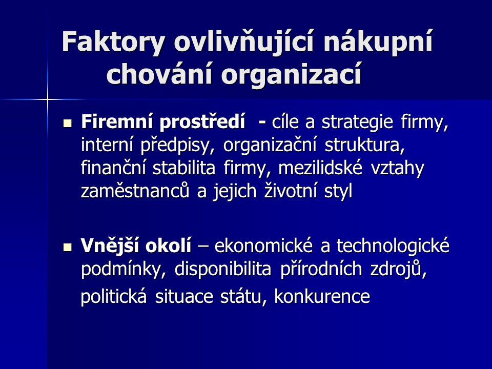 Faktory ovlivňující nákupní chování organizací Firemní prostředí - cíle a strategie firmy, interní předpisy, organizační struktura, finanční stabilita