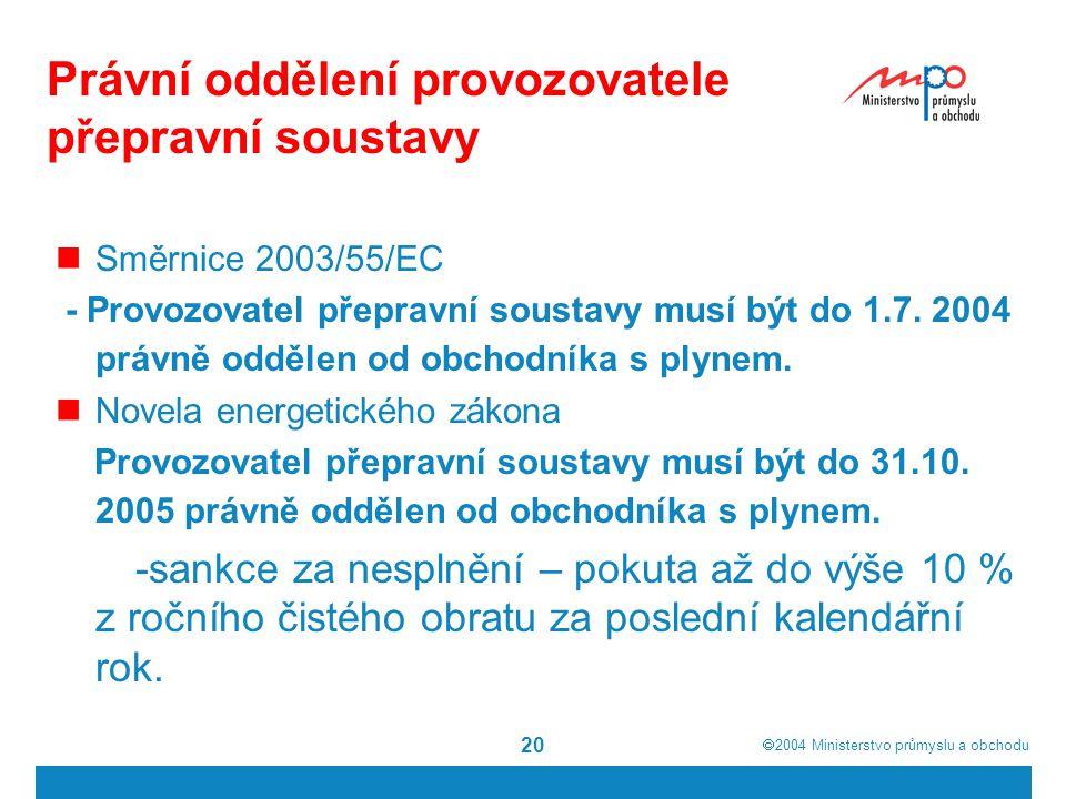  2004  Ministerstvo průmyslu a obchodu 20 Právní oddělení provozovatele přepravní soustavy Směrnice 2003/55/EC - Provozovatel přepravní soustavy musí být do 1.7.