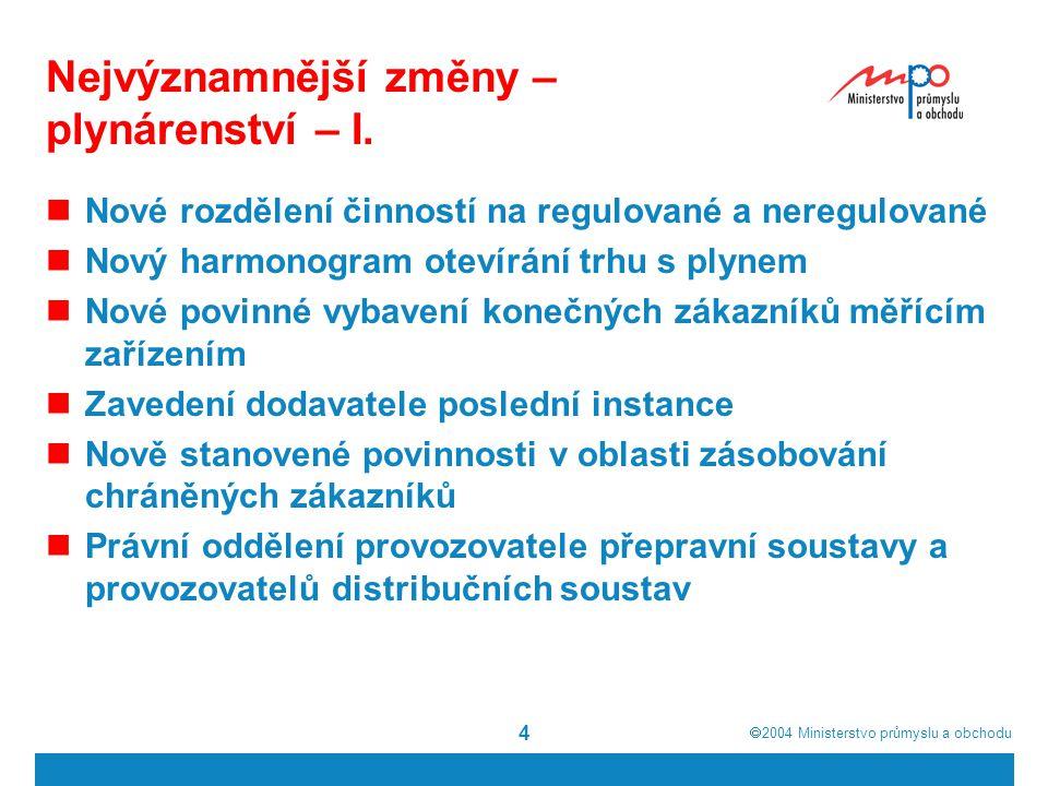  2004  Ministerstvo průmyslu a obchodu 4 Nejvýznamnější změny – plynárenství – I.