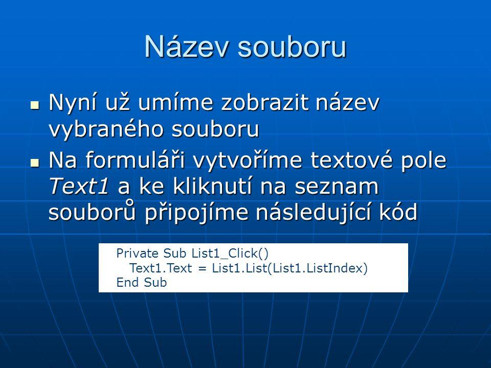 Název souboru Nyní už umíme zobrazit název vybraného souboru Nyní už umíme zobrazit název vybraného souboru Na formuláři vytvoříme textové pole Text1 a ke kliknutí na seznam souborů připojíme následující kód Na formuláři vytvoříme textové pole Text1 a ke kliknutí na seznam souborů připojíme následující kód Private Sub List1_Click() Text1.Text = List1.List(List1.ListIndex) End Sub