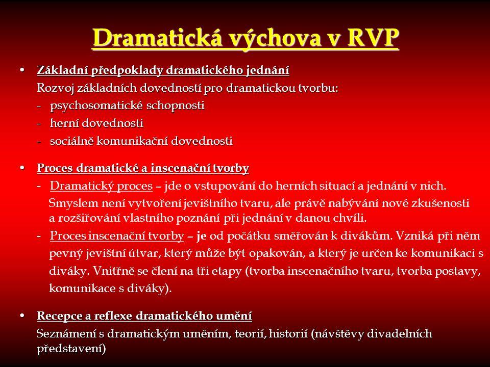 Dramatická výchova v RVP Základní předpoklady dramatického jednání Základní předpoklady dramatického jednání Rozvoj základních dovedností pro dramatic