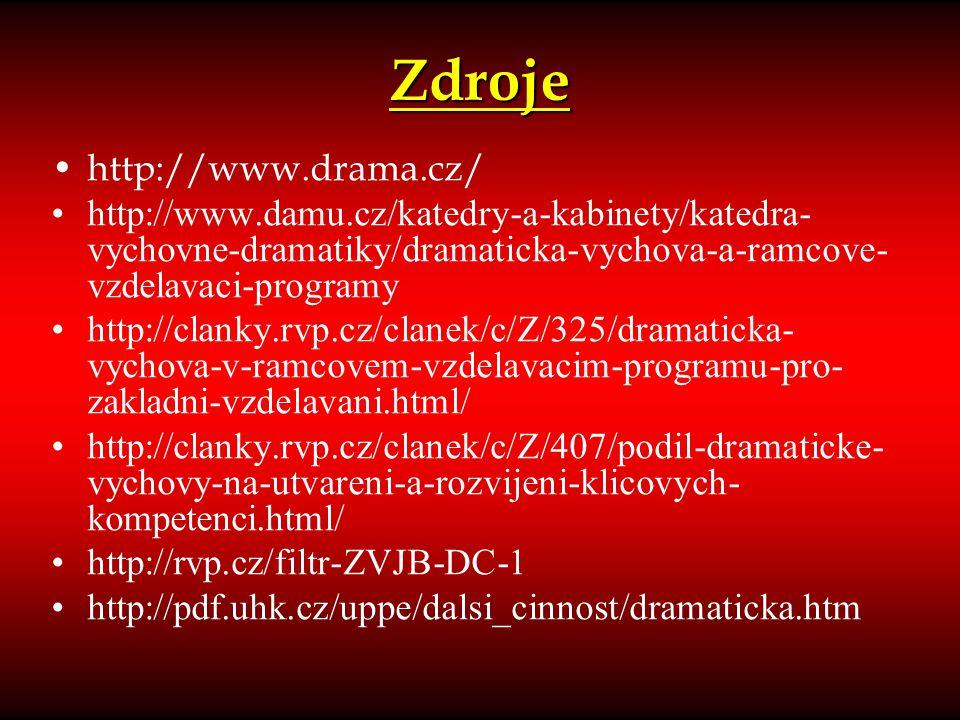 Zdroje http://www.drama.cz/ http://www.damu.cz/katedry-a-kabinety/katedra- vychovne-dramatiky/dramaticka-vychova-a-ramcove- vzdelavaci-programy http:/