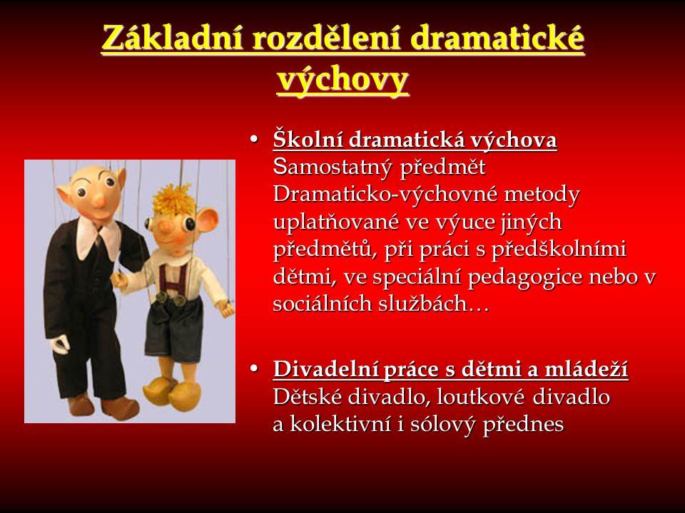Základní rozdělení dramatické výchovy Školní dramatická výchova S amostatný předmět Dramaticko-výchovné metody uplatňované ve výuce jiných předmětů, p