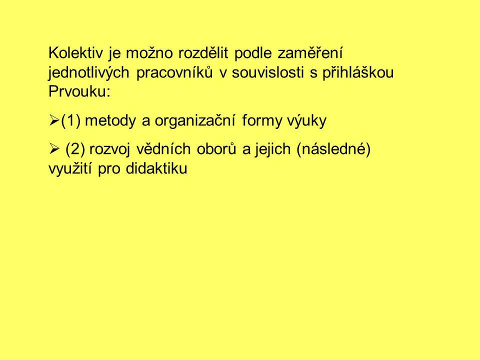 Kolektiv je možno rozdělit podle zaměření jednotlivých pracovníků v souvislosti s přihláškou Prvouku:  (1) metody a organizační formy výuky  (2) roz