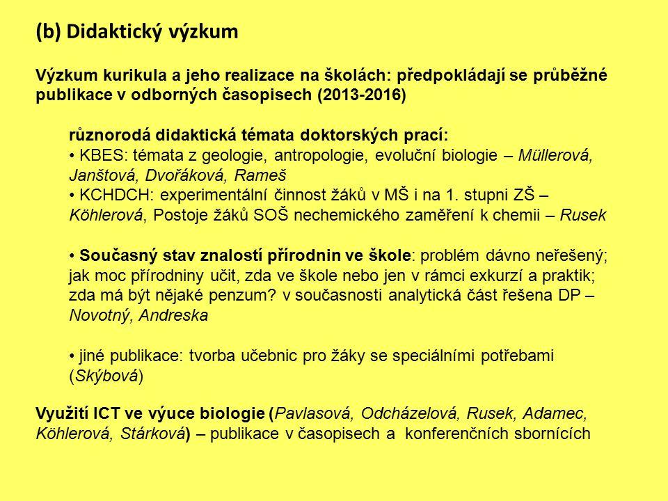 (b) Didaktický výzkum Výzkum kurikula a jeho realizace na školách: předpokládají se průběžné publikace v odborných časopisech (2013-2016) různorodá di