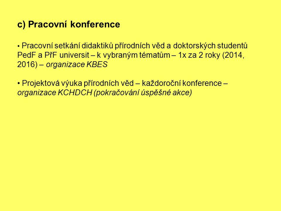 c) Pracovní konference Pracovní setkání didaktiků přírodních věd a doktorských studentů PedF a PřF universit – k vybraným tématům – 1x za 2 roky (2014, 2016) – organizace KBES Projektová výuka přírodních věd – každoroční konference – organizace KCHDCH (pokračování úspěšné akce)