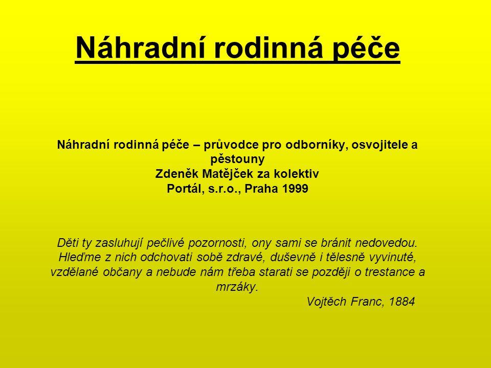 Náhradní rodinná péče Náhradní rodinná péče – průvodce pro odborníky, osvojitele a pěstouny Zdeněk Matějček za kolektiv Portál, s.r.o., Praha 1999 Dět