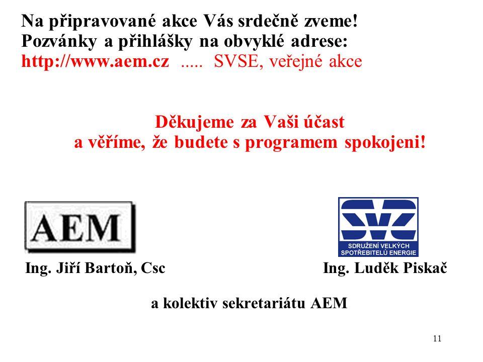 11 Na připravované akce Vás srdečně zveme! Pozvánky a přihlášky na obvyklé adrese: http://www.aem.cz..... SVSE, veřejné akce Děkujeme za Vaši účast a