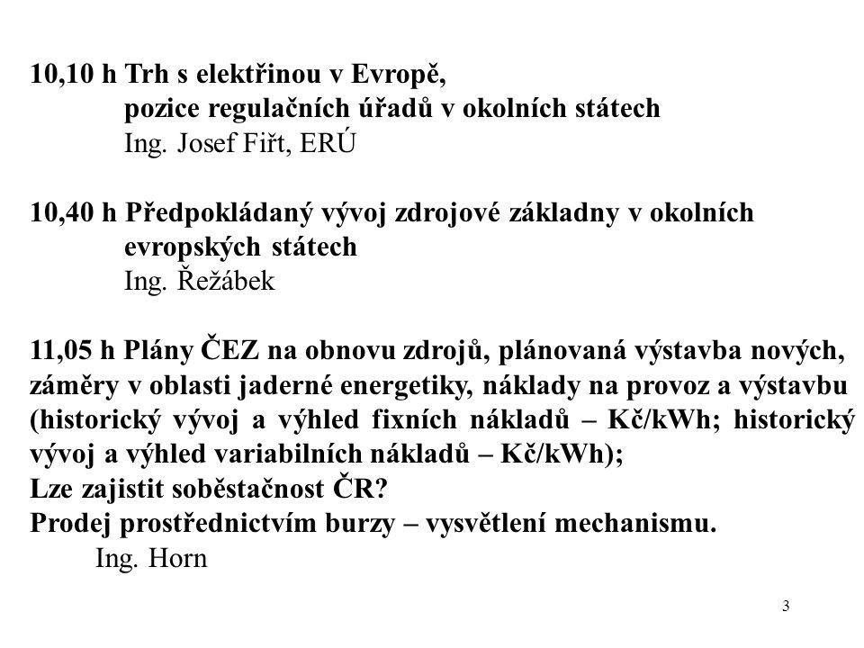 3 10,10 h Trh s elektřinou v Evropě, pozice regulačních úřadů v okolních státech Ing. Josef Fiřt, ERÚ 10,40 h Předpokládaný vývoj zdrojové základny v