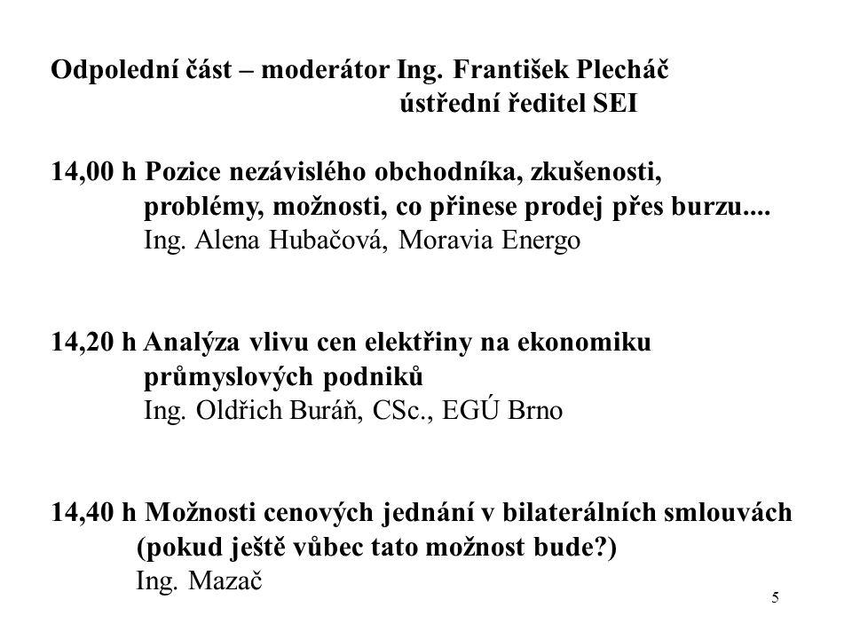 5 Odpolední část – moderátor Ing. František Plecháč ústřední ředitel SEI 14,00 h Pozice nezávislého obchodníka, zkušenosti, problémy, možnosti, co při
