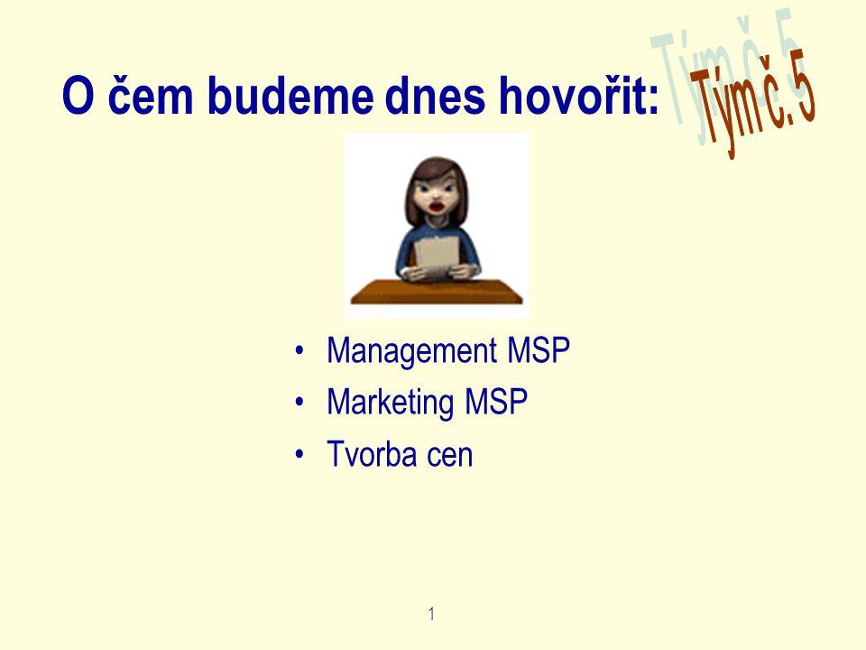 1 O čem budeme dnes hovořit: Management MSP Marketing MSP Tvorba cen