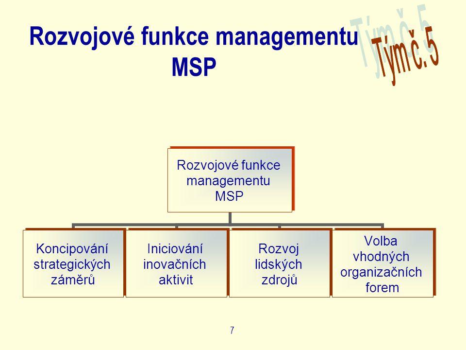 7 Rozvojové funkce managementu MSP Rozvojové funkce managementu MSP Koncipování strategických záměrů Iniciování inovačních aktivit Rozvoj lidských zdrojů Volba vhodných organizačních forem