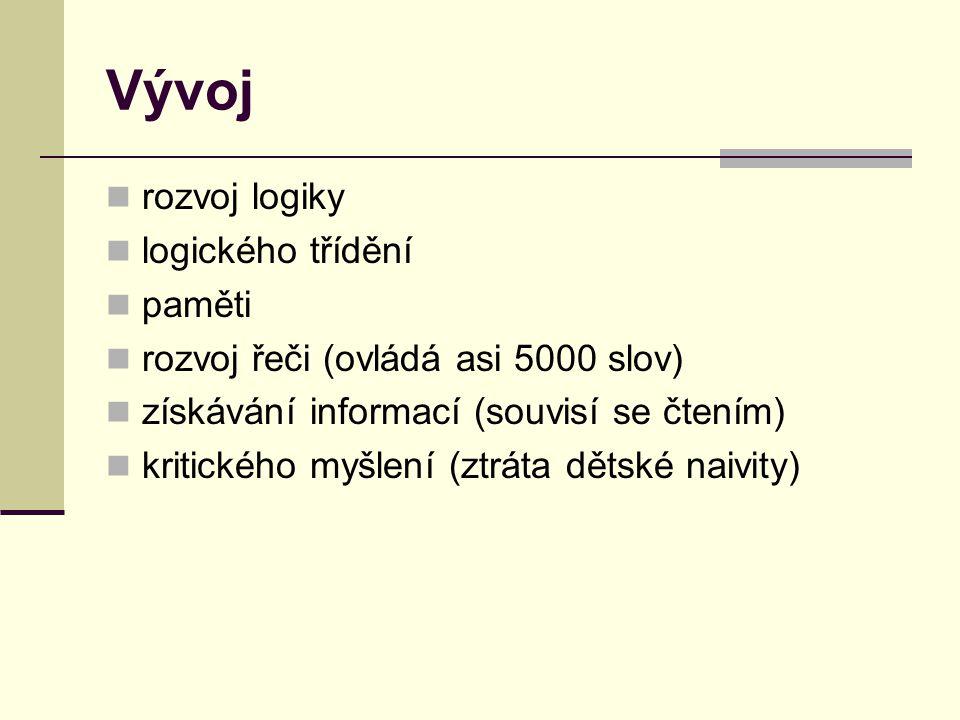 Vývoj rozvoj logiky logického třídění paměti rozvoj řeči (ovládá asi 5000 slov) získávání informací (souvisí se čtením) kritického myšlení (ztráta dět