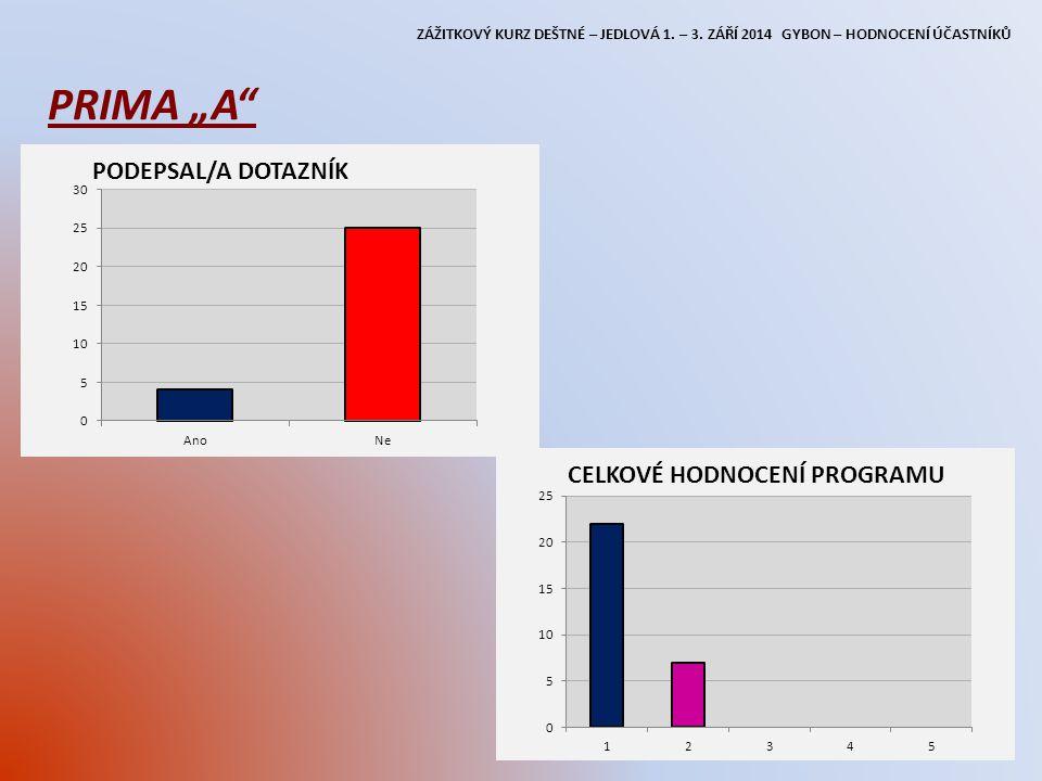 """ZÁŽITKOVÝ KURZ DEŠTNÉ – JEDLOVÁ 1. – 3. ZÁŘÍ 2014 GYBON – HODNOCENÍ ÚČASTNÍKŮ PRIMA """"A"""""""