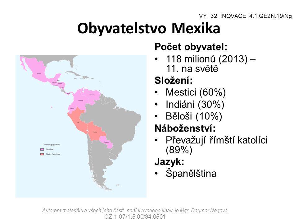 Obyvatelstvo Mexika Počet obyvatel: 118 milionů (2013) – 11. na světě Složení: Mestici (60%) Indiáni (30%) Běloši (10%) Náboženství: Převažují římští