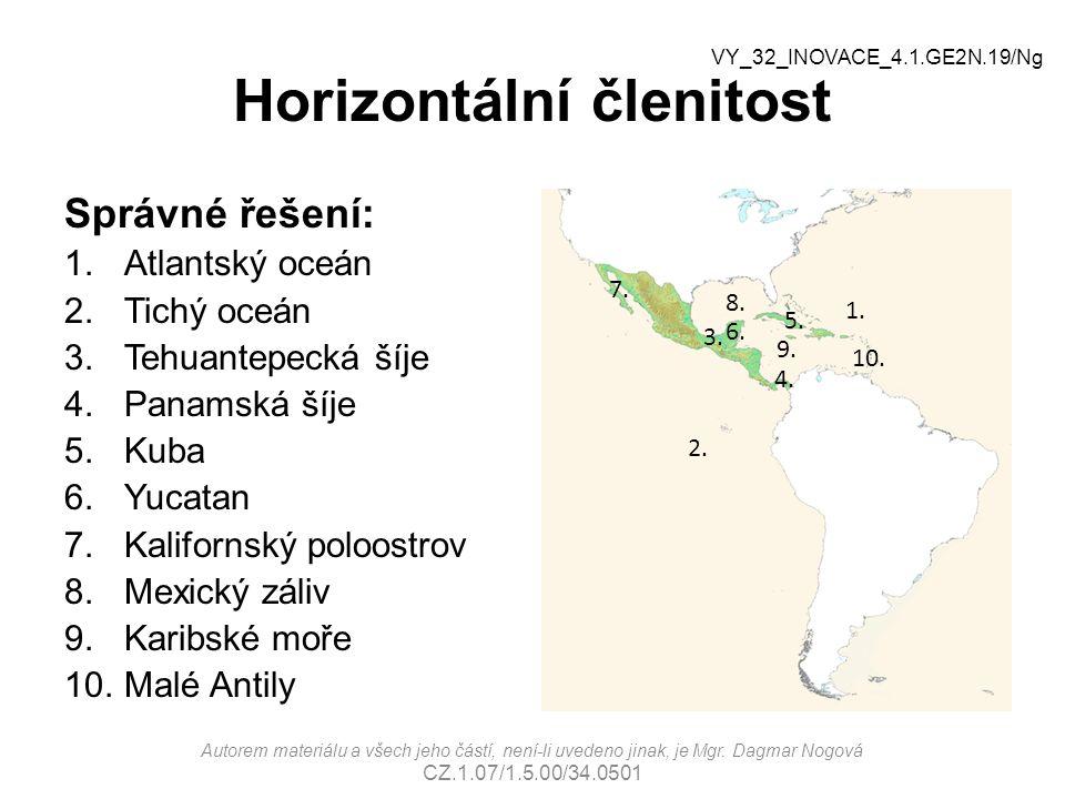 Horizontální členitost Správné řešení: 1.Atlantský oceán 2.Tichý oceán 3.Tehuantepecká šíje 4.Panamská šíje 5.Kuba 6.Yucatan 7.Kalifornský poloostrov