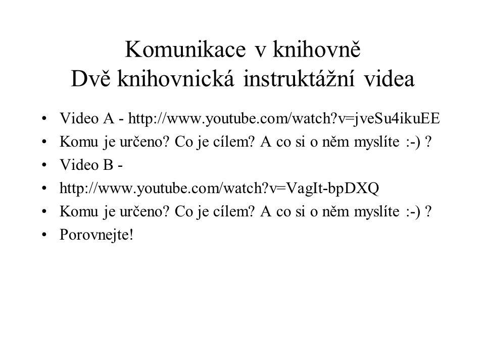 Komunikace v knihovně Dvě knihovnická instruktážní videa Video A - http://www.youtube.com/watch?v=jveSu4ikuEE Komu je určeno? Co je cílem? A co si o n