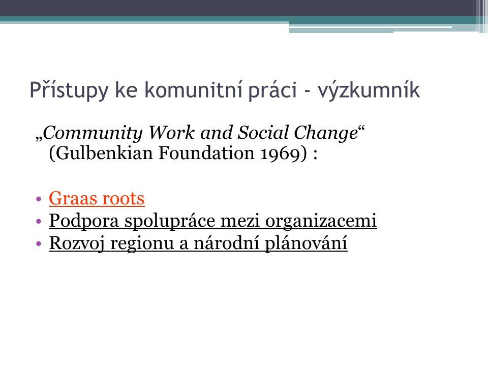 """Přístupy ke komunitní práci - výzkumník """"Community Work and Social Change"""" (Gulbenkian Foundation 1969) : Graas roots Podpora spolupráce mezi organiza"""