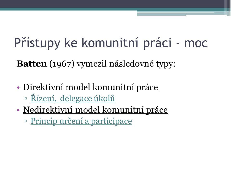 Přístupy ke komunitní práci - moc Batten (1967) vymezil následovné typy: Direktivní model komunitní práce ▫Řízení, delegace úkolů Nedirektivní model k