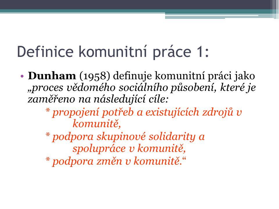 """Definice komunitní práce 1: Dunham (1958) definuje komunitní práci jako """"proces vědomého sociálního působení, které je zaměřeno na následující cíle: *"""