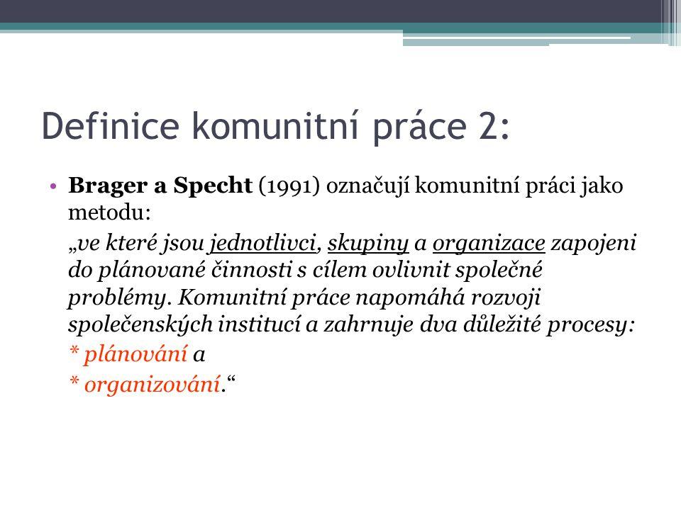 """Definice komunitní práce 2: Brager a Specht (1991) označují komunitní práci jako metodu: """"ve které jsou jednotlivci, skupiny a organizace zapojeni do"""